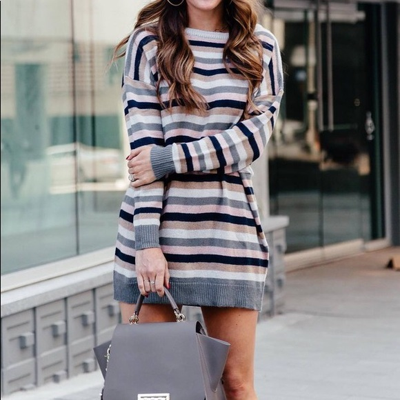 52e53707ba5 Tularosa • Hamptons Striped Knit Sweater Dress. M 5ba05946c89e1dde51cbbd22